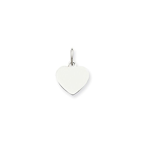 Sterling Silver Engravable Heart Disc Charm (11 x 10mm)