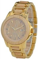 Wood Mark ZS-1036G Mens Chesapeake Gold Stainless Steel & Maple wood Watch