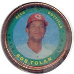 1971 Topps Topps Coins (Baseball) Card# 81 Bob Tolan of the Cincinnati Reds VGX Condition