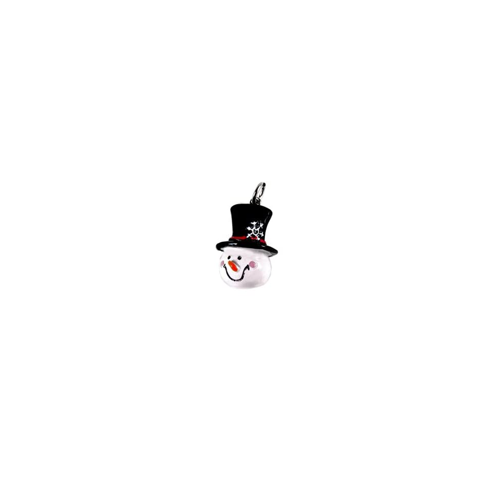 Roly Polys 3 D Hand Painted Resin Snowman Head with Top Hat Charm, Qty 1