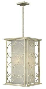 Hinkley 3284SL Transitional Four Light Stem Hung Foyer from Flourish collection in Pwt, Nckl, B/S, ()