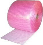 Small 3/16-inch Pink Anti-Static Bubble Cushioning Wrap Roll, 175-foot by 12-inches Wide, 12-inch Perforated