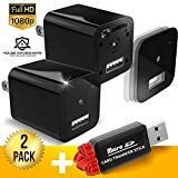 Hidden Spy Camera | 2 Pack | 1080P Full HD |Has Motion Detection | Loop Recording | Free Flash Transfer Stick | for Protection and Surveillance of Your Home and Office from House Informants