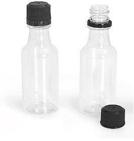 100 Mini ROUND Plastic Alcohol 50ml Liquor Bottle Shots + Caps (100 Bulk) for party favors in Weddings, Anniversary, Events, holds BBQ Sauce Samples, Essential Oils, etc. Proudly Made in the USA! by Party Over Here (Image #2)