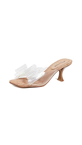 Jeffrey Campbell Women's Couplet Kitten Heel Slides, Nude/Clear, 6 M US