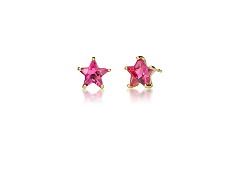 Surgical Stainless Steel Studs Earrings Little Girl - Women Star Shape Birthstone Cubic Zirconia Hypoallergenic ()