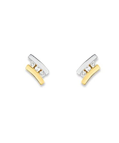 OR by Stauffer - Boucles d'oreilles trilogie or bicolore 375/1000, diamants by Stauffer