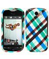 T-mobile MyTouch 4G Slide (Doubleshot) myTouch Slide(Doubleshot) Blue Plaid Cell Phone Snap-on Cover Faceplate / Executive Protector Case