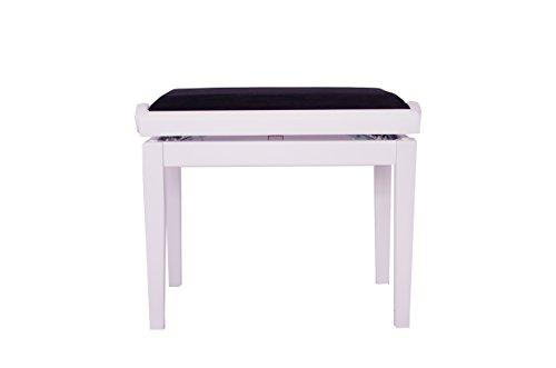 MYMQ Velvet Padded Wooden Adjustable Height Piano Bench White Matte Finish