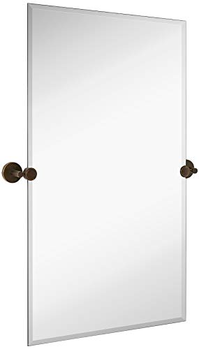 Hamilton Hills Large Pivot Rectangle Mirror with Oil Rubbed Bronze Wall Anchors | Silver Backed Adjustable Moving & Tilting Wall Mirror |  24