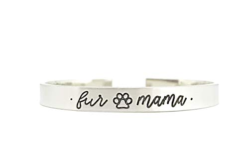 Fur Mama Bracelet - Cat Lady - Dog Mom - Thick Pewter Cuff Bracelet - Hand Stamped Personalized Engraved -