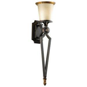 Cyan Lighting 04652 San Giorgio - One Light Wall Bracket, Oiled Bronze Finish with Amber Linen Glass