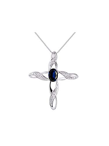 Diamond & Sapphire Cross Pendant Necklace Set In 14K White Gold with 18