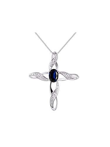 RYLOS Simply Elegant Beautiful Blue Sapphire & Diamond Pendant Necklace - September Birthstone