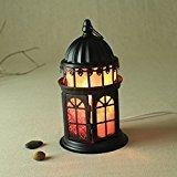 Amyove Iron Table Lamps, Crystal Salt Lamp Euro Style Decorative Light, US Plug Bedlight
