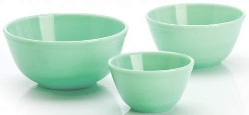 (3 Piece Set Hand Made Jade Green Milk Glass Mixing Nesting Bowls by Mosser Glass)