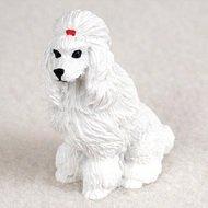 Poodle White Mini Dog Collectible Pet Figurine