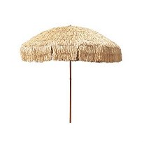 8' Hula Umbrella 16 Fiberglass Ribs Covered w/ Beige Raffia (Hula), 4.33