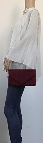 SwankySwans Suede Party Women's Burgundy Iggy Clutch Prom Clutch Envelope Velvet Bag FrgFOq