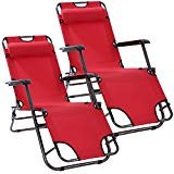 2pcs Outdoor Zero Gravity Chair, Folding Heavy Duty Recliner Lounge Patio Yard Beach Chairs with Headrest (Red)