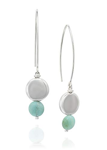 Women's 925 Sterling Silver Long Wire Threader Amazonite Gemstone Earrings with Round Silver Beads