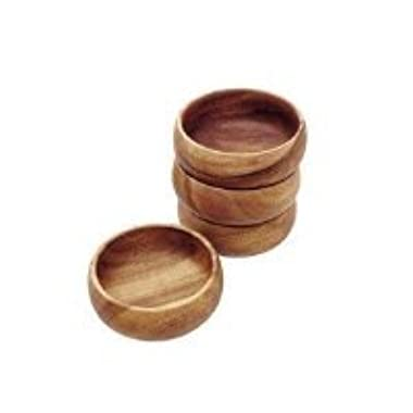 Pacific Merchants Trading Acaciaware 6- by 3-Inch Acacia Wood Round Calabash Serving / Salad Bowl, Set of 4