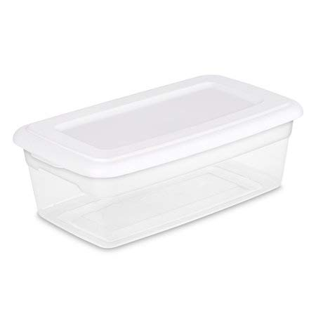 Sterilite 16428012 6 Quart/5.7 Liter Storage Box, White Lid with Clear Base, ()