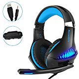 Gaming Headset,OfficeLead Stereo Headphones for Laptop,Tablet,PS4, PC, Xbox One Controller, Noise Cancelling Over Ear Headset with Mic, LED Light, Bass Surround ()