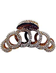 (VANVENE Elegant Style Large Fancy Good Quality Rhinestones Claw Clip Jaw Clips For Thick Hair (Dark brown))
