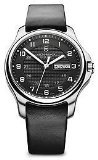 Victorinox Black Dial Stainless Steel Leather Quartz Male Watch 241549 - No Knif