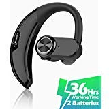 AVANTY Bluetooth Headset [36Hrs Playtime, 2 Batteries, V4.2] Wireless Bluetooth Earpiece for Cell Phone Noise Canceling Car Earbuds Headphones with Mic Compatible with iPhone Samsung Android (Black)