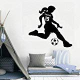Personalized Soccer Girl Name Wall Sticker Baby Nursery Girl Room Custom Name Football Player Wall Decal Kids Room Vinyl Decor for Bedroom