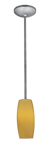 Access Lighting 28070-1R-BS/AMB Cognac Glass Pendant One Light Pendant with Rods, Brushed Steel Finish with Amber Glass Shade