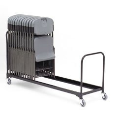 Iceberg ICE64046 Heavy Gauge Steel Chair Cart, 25 Folding Chairs Capacity, 6' Length, Black