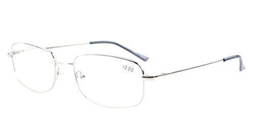 Eyekepper Bridge-flex Memory Titanium Mens Womens Spring Hinges Reading Glasses Silver - Distance Bridge Glasses
