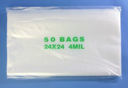 24'' x 24'', 4 Mil (Pack of 100) Heavy Duty Plastic Reclosable Zipper Bags by Plymor (Image #1)