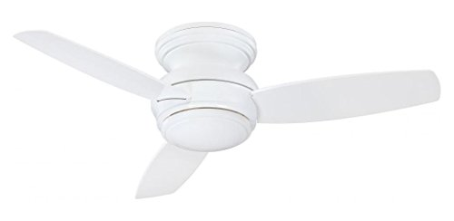 White 3 Blade 44In. Flush Mount Indoor/Outdoor Ceiling Fan With Blades And Integrated 1 Bulb Light Kit Included - Wet Flush Mount Fan