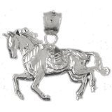 CleverEve 14K White Gold Pendant Horse 5.4 Grams