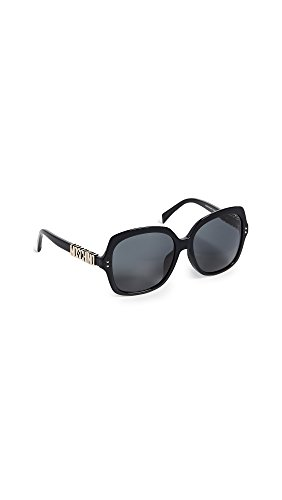 Moschino Women's Logo Sunglasses, Black/Grey Blue, One - Logo Sunglasses Company