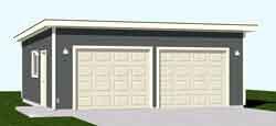 Garage Plans: Two Car Flat Roof Garage   Plan # 576 1FT
