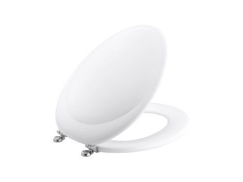 KOHLER K-4615-G-0 Revival Elongated Toilet Seat with Polished Chrome Hinges, White