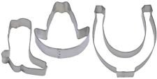 3 Piece Western Horseshoe Cowboy Hat Boot Cookie Cutter Set NEW