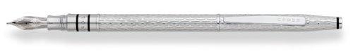 Cross Spire, Icy Chrome, Fountain Pen with Rhodium Plated Solid 18K Gold Nib, Medium (18k Nib Fountain Pen)