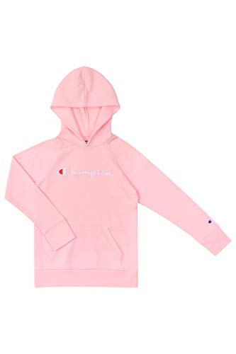 Champion Girls Hooded Sweatshirt Script Logo Heritage Collection Big and Little Girls (Medium, Pink Candy)