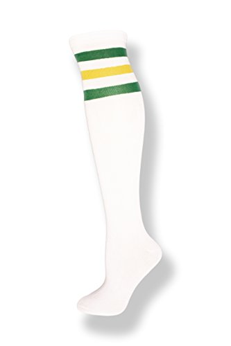 NeonNation Unisex White Knee High Team Tube Socks w/Three Various Colored Stripes (White w/Kelly Green & Yellow Stripes) -