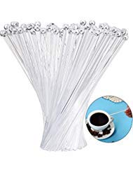 100 Pieces Disposible Plastic Round Top Crystal Swizzle Sticks (Clear)