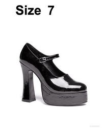 Ellie Shoes Womens Eden Patent Platform Mary Jane Heels Black 7 (5 Inch Sexy Lingerie Shoe)