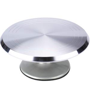 (THETIS Homes Aluminium Alloy Revolving Cake Stand with Non-Slip Rubber Bottom - 12.2'' Cake Turntable & 12.6'' Angled Icing Spatula & 3 PCS Icing Smoother)