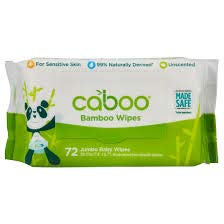 Caboo Tree-Free BPA Free- Compostable Bamboo Baby Wipes - With Resealable Tab (4 Packs of 72 wipes)
