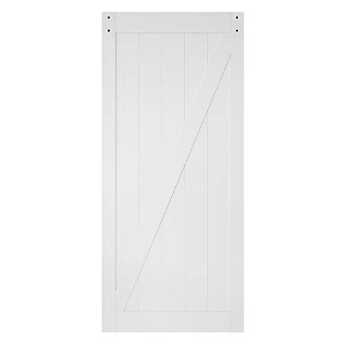 TENONER 36in x 84in White Z-Frame Sliding Barn Door, Hardware not Included